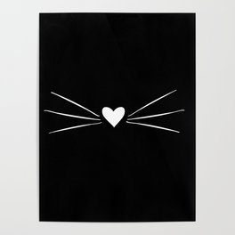 Cat Heart Nose & Whiskers White on Black Poster