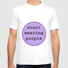 Start Wearing Purple White MEDIUM Mens Fitted Tee