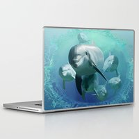 dolphins Laptop & iPad Skins featuring Dolphins by Lynne Hoad