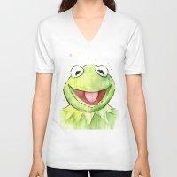 kermit V-neck T-shirts featuring Kermit Portrait by Olechka