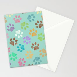 Doodle colorful paw candy colors pattern Stationery Cards