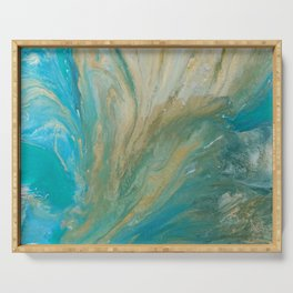 Acrylic pour abstract turquoise coast Serving Tray