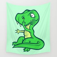 t rex Wall Tapestries featuring T-Rex Booger by Artistic Dyslexia