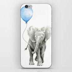 Baby Animal Elephant Watercolor Blue Balloon Baby Boy Nursery Room Decor iPhone & iPod Skin