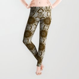 Brown Floral Abstract Leggings