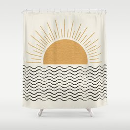 Sunrise Ocean -  Mid Century Modern Style Shower Curtain
