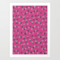 gray pattern Art Prints featuring Pink & Gray pattern by Georgiana Paraschiv