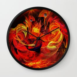 Two fiery rooster Wall Clock