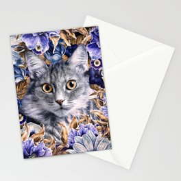 Cat in Flowers. Autumn Stationery Cards