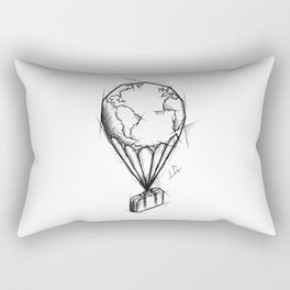 Balloon Handmade Drawing, Made in pencil, charcoal and ink, Tattoo Sketch, Tattoo Flash, Sketch Rectangular Pillow