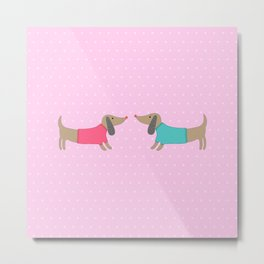 Cute dogs in love with dots in pink background Metal Print