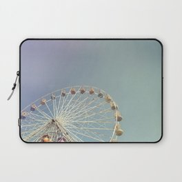 Ferris wheel against a blue sky with vintage film simulation Laptop Sleeve