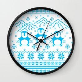 Cute Blue Scandinavian Penguin Holiday Design Wall Clock