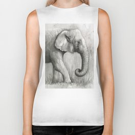 Elephant Black and White Watercolor Biker Tank