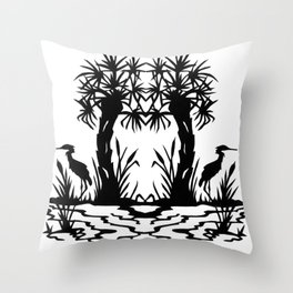 Lowcountry Herons - Papercut Silhouette Scherenschnitte Throw Pillow