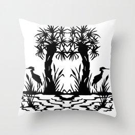 Lowcountry Herons - Papercut Silhouette Scherenschnitte Throw Pillow