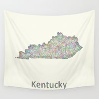 kentucky Wall Tapestries featuring Kentucky map by David Zydd