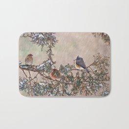 Three Little Birds in a Blizzard Bath Mat