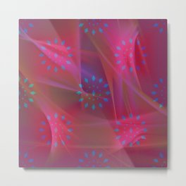 Blue Patterns on Pink Chiffon Metal Print