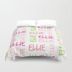 Name Square Color Splash Preppy Pink Duvet Cover