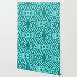 Cyan geometric hexagon stars op art Wallpaper
