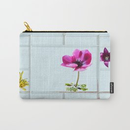 Grungy frame with summer flowers Carry-All Pouch