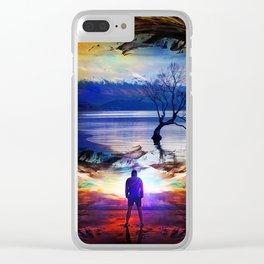 Trough a time portal Clear iPhone Case