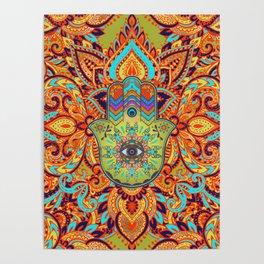 Colorful  Hamsa Hand -  Hand of Fatima Poster