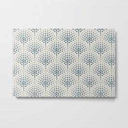 Blue Polka Dot Scallop Pattern on Linen White Pairs To 2020 Color of the Year Chinese Porcelain Metal Print