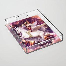 Andora: Drag Queen Riding a Unicorn Acrylic Tray