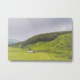 Countryside house & hill Metal Print