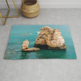 Rocks, Cliffs And Ocean Landscape In Lagos Bay Coast, Algarve Portugal, Wall Art, Landscape Art Rug