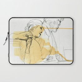 Sir reading to a girl sculpture sketch Laptop Sleeve