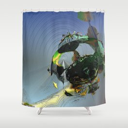 Mysterious Flying Vehicle Landing Shower Curtain