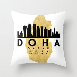 DOHA QATAR SILHOUETTE SKYLINE MAP ART Throw Pillow