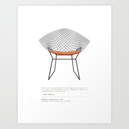 Mid-Century Diamond Lounge Chair Art Print