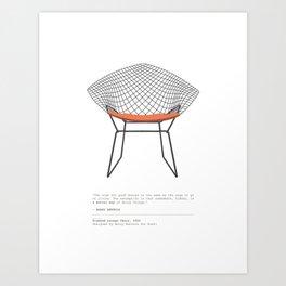 Mid-Century Diamond Lounge Chair Art Print