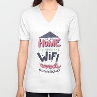 risa rodil V-neck T-shirts featuring Home Wifi by Risa Rodil