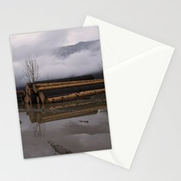 Timber Logs With A Foggy Mountain View Stationery Cards
