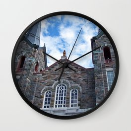 Church and Clouds Wall Clock