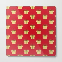 Christmas gifts - red and gold Metal Print