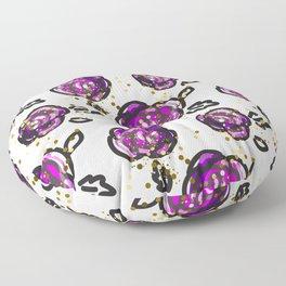 Hand drawn purple roses Floor Pillow