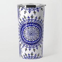 Royal Blue Winter/Holiday Snowflake Mandala Textile Travel Mug