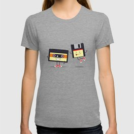 Floppy disk and cassette tape T-shirt