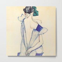 """Egon Schiele """"Rückenansicht eines Mädchens im blauen Rock (Back view of  a girl in a blue dress)"""" Metal Print"""