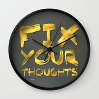 "pocketfuel Wall Clocks featuring Phil 4:8 ""Fix your thoughts..."" by Pocket Fuel"