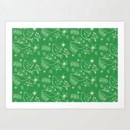 Christmas Dove Green Art Print