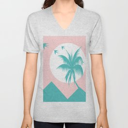 mountains and palm Unisex V-Neck