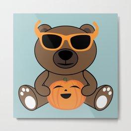 Cool Halloween bear holding pumpkin on Light Blue Metal Print