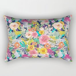 Autumn Blooms on Navy Seamless Repeat Rectangular Pillow